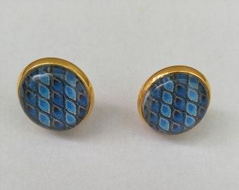 Stud Earrings, peacock blue cabochon pattern