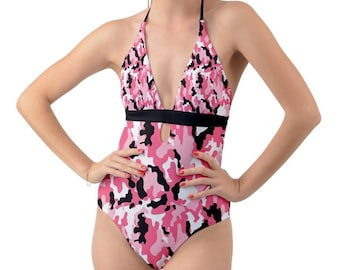 975e898b76 Pink Camo Camouflage Pattern Cut Out Sexy One Piece Army Print Swimsuit    Self-tie Halter Swim Wear   Backless Bathing Suit - CLB084