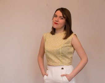 Yellow printed blouse in Liberty Fabric