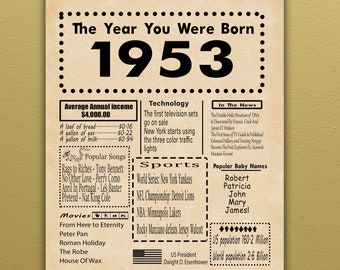 Custom PRINTABLE 16x20\u201d Sign Back in 1953 Poster 1953 Anniversary Gift Flashback to 53 Anniversary Party Decoration