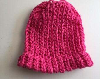 Organic Cotton Hand Knit Hot Pink Magenta Baby Hat