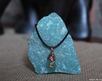 Aventurine copper wire wrapped necklace