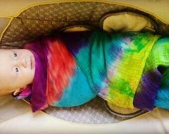 Tie Dyed Muslin Baby Blanket