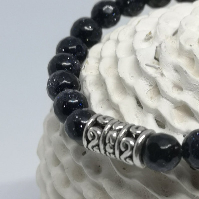 Blue Sand Beads Stretch Beads Bracelet 8 mm Beads Bracelet Bracelet For Stacks