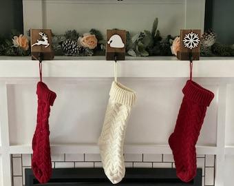 Stocking Holder, Stocking Hanger, Stocking Holder for Mantle, Stocking Hanger for Mantle, Christmas Decor, Stocking Hooks, Wood Stocking