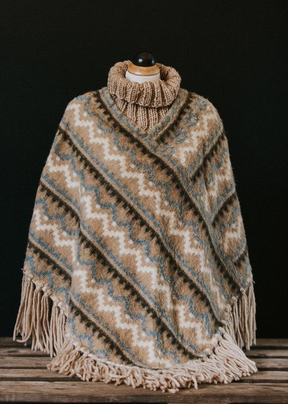 Vintage 70s Crochet Knit  100% Wool Fringe Poncho