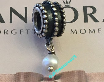 a0f1c21f8 Authentic Pandora Beveled Pearl Dangle Charm Retired Pandora Charm