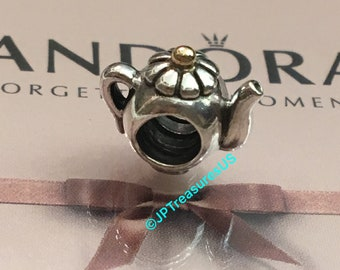 08ae18d3a Authentic Pandora Teapot Charm Two Tone Retired Pandora Charm Pandora Free  Shipping