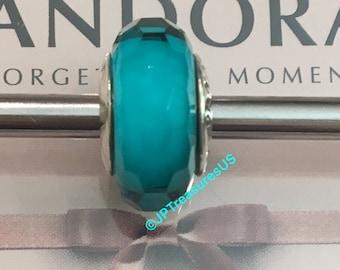 2a30e2d0d57 Authentic Pandora Fascinating Teal Murano Glass Charm Bead Retired Pandora  Murano Glass Bead