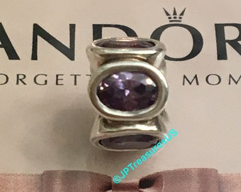 8890d4662 Authentic Pandora Oval Lights Purple Cubic Zirconia Charm Retired Pandora  Charm Cubic Zirconia