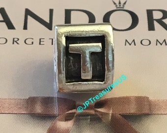 98498f81d Authentic Pandora Letter T Charm Pandora Alpha Initial T Retired Pandora  Charm Pandora Free Shipping