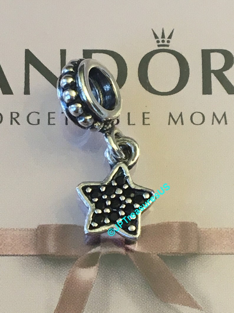 5442dcb27 Authentic Pandora Star Pave Black CZ Dangle Charm Retired   Etsy
