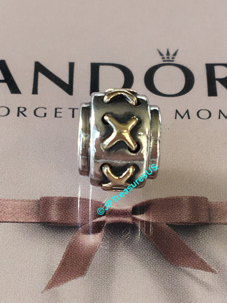 721e12122 Authentic Pandora Cross Stitches Charm Two Tone Retired | Etsy