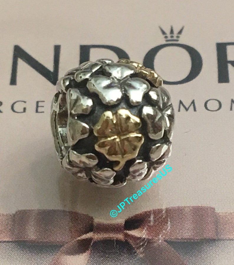 56b98ae4aceb2 Authentic Pandora Lucky Four Leaf Clover Charm Two Tone Retired Pandora  Charm Pandora Free Shipping