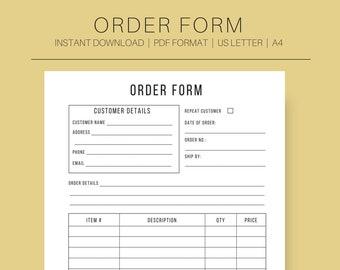Business forms etsy order form order form template customer form order template small business form printable order form instant download flashek Gallery