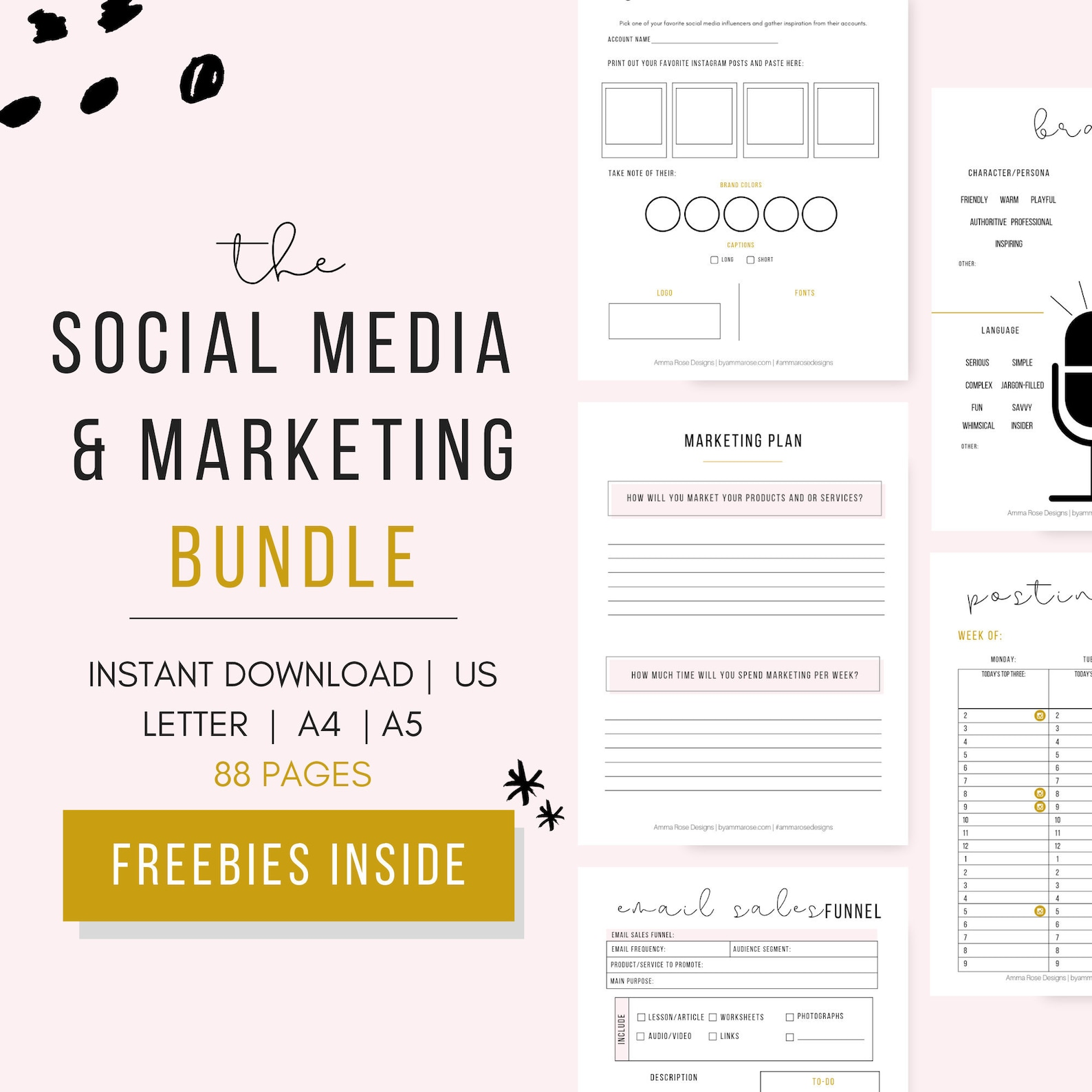 Social Media and Marketing Planner Bundle