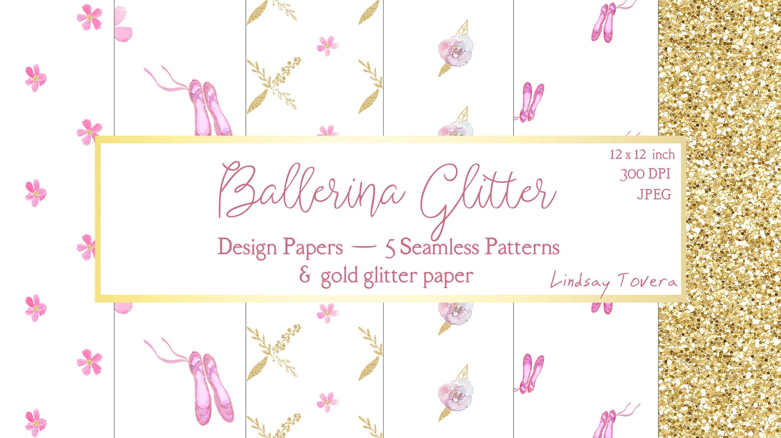 watercolor ballerina digital paper | pink ballet shoes scrapbook papers | blush pink gold glitter | seamless pattern paper digit