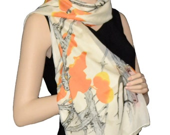 Sunshield Scarf Blossom & Branches Collection Yellow