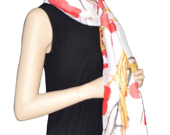 Sunshield Scarf Blossom & Branches Collection Red