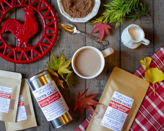 Adaptog Energy+ Super Cacao (With Guarana)   Organic Medicinal Mushroom & Superfood Cocoa (With Adaptogens For Energy And Stress Relief) by Etsy
