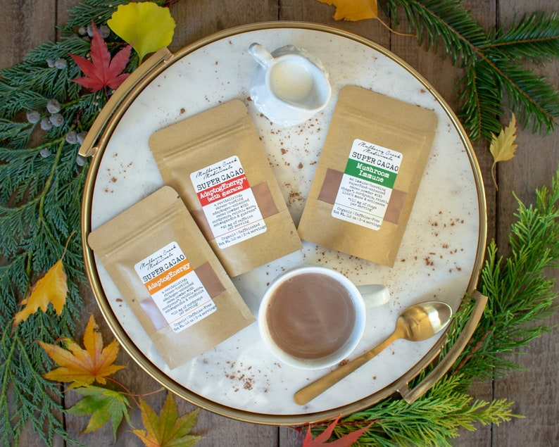 SUPER CACAO Sample Packs - Organic Superfood & Mushroom Enhanced Cocoa  Mixes (Medicinal Cocoa Powder for Coffee, Hot Chocolate, and More!)