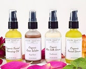Gift Collection Face Cleansing Oil, Rose Water, Aloe Vera Silk Night Facial Serum, Organic Anti-Aging Gift, Natural