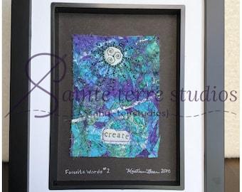 "CREATE - Favorite Words #2 mini art quilt in 8"" x 10"" frame"