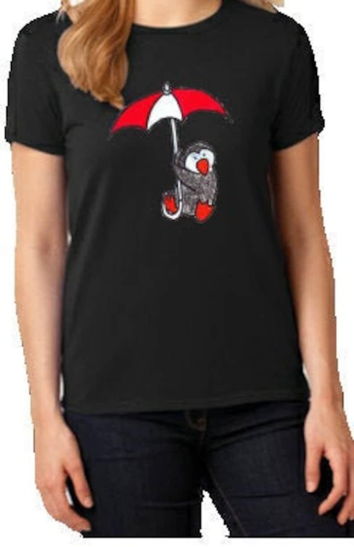 New Women/'s Lady Black 100/% Cotton Short Sleeve Tee T-Shirt Shady Penguin Umbrella Graphic Print