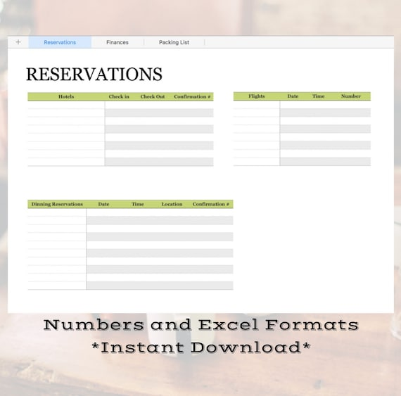 vacation planning and budgeting spreadsheet numbers and excel etsy