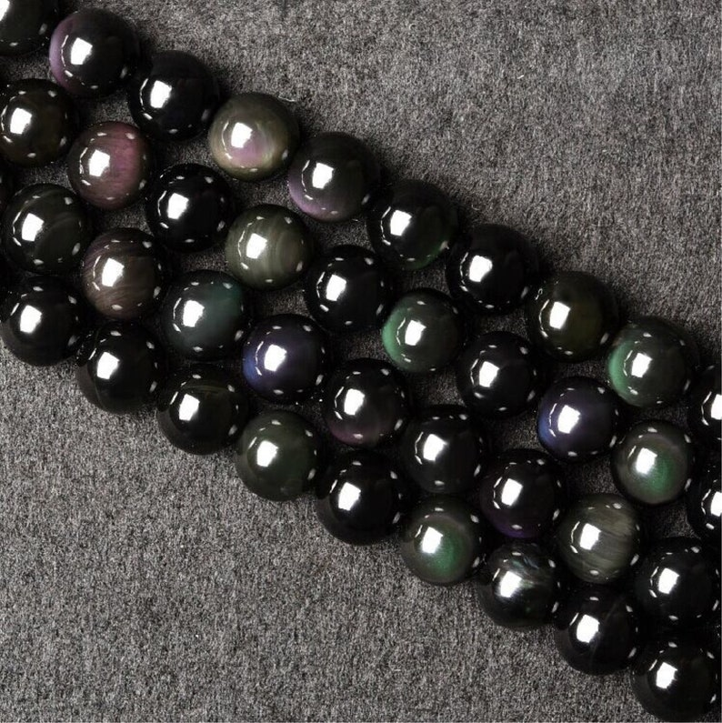 HYS1 6mm-16mm DIY Black Stone Beads Supplies Natural Black Round Obsidian Beads with Double Rainbow Eye Rainbow Obsidian Beads