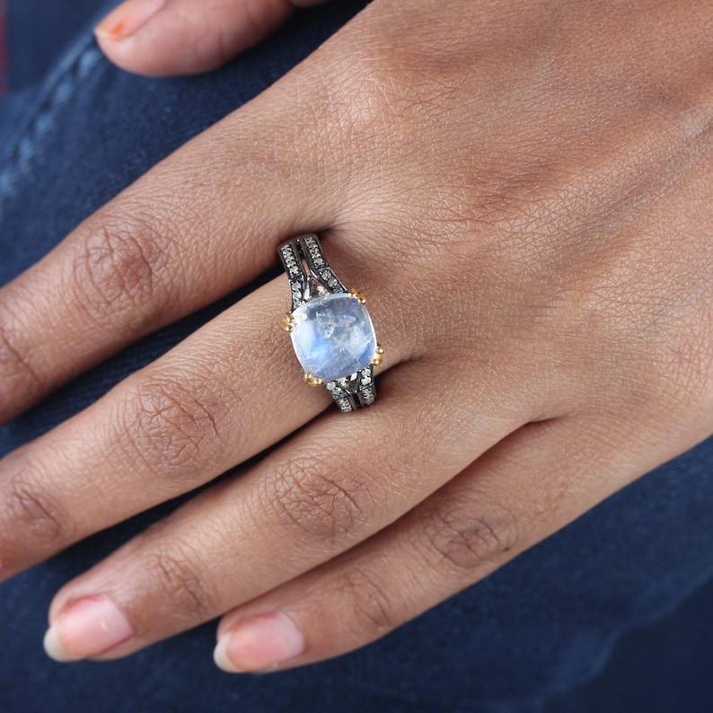 Unique Design Genuine SlicePave Diamond Moonstone Ring Solid 925 Sterling Silver Fashion Jewelry Birthday  Anniversary Gifts