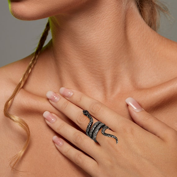 Halloween Sale Diamond Ruby Emerald 14k Gold 925 Silver Fashion Wrap Snake Ring