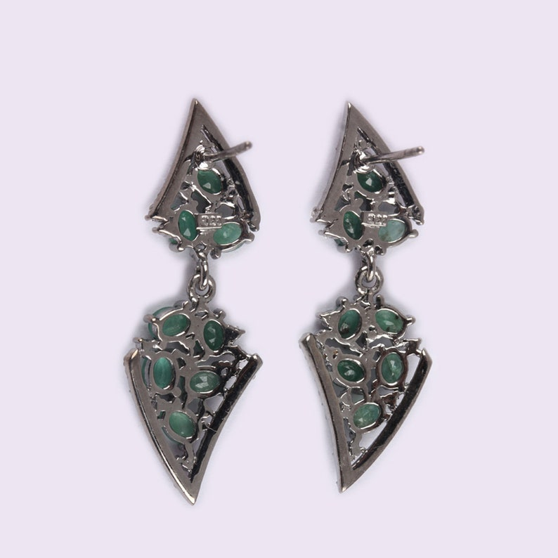 Unique Design Solid 925 Sterling Silver Gemstone Emerald Dangle Earrings Pave Diamond Jewelry Christmas Gifts