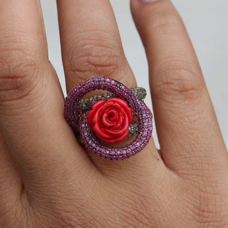 Ruby Gemstone Red Coral Carving Flower Ring 925 Silver Pave Diamond Jewelry Floral Ring Anniversary Gift For Her Flower Shaped Ring
