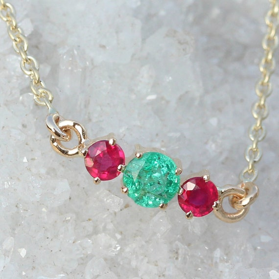 Natural Emerald and Ruby GEMSTONE BRACELET Solid 18k Yellow Gold Handmade Fine Jewelry Valentine Gifts, New Arrivals