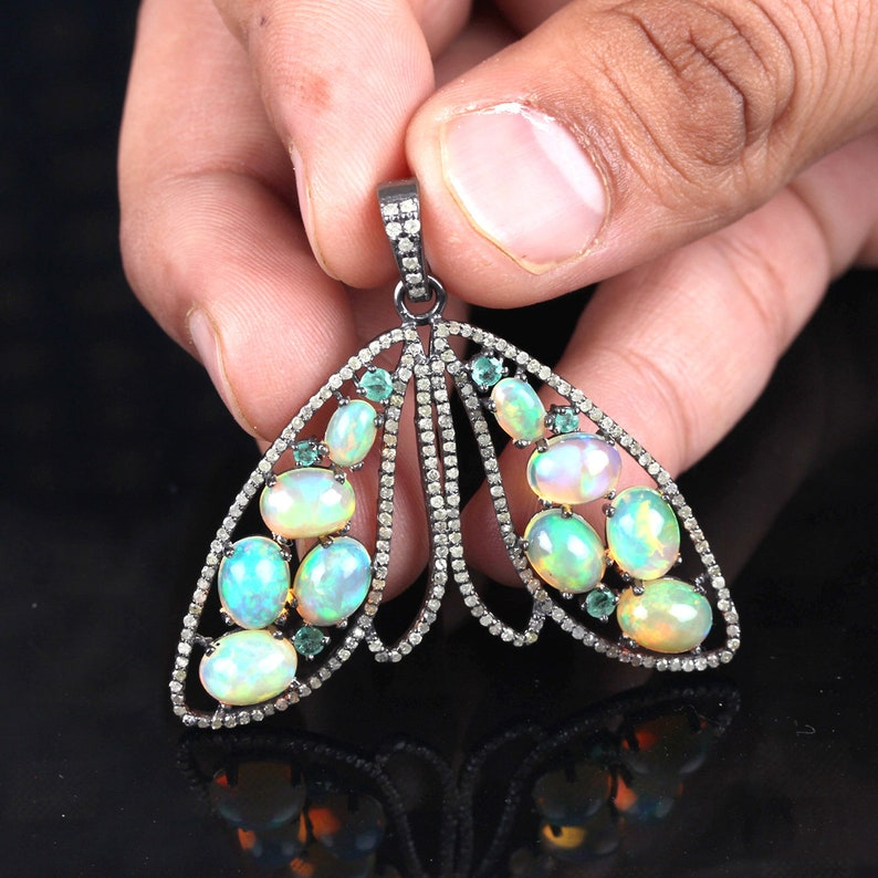 Genuine 1.29 Ct Opal /& Emerald Gemstone Pendant 925 Sterling Silver Butterfly Shape Pendant Necklace Handmade Fine Jewelry