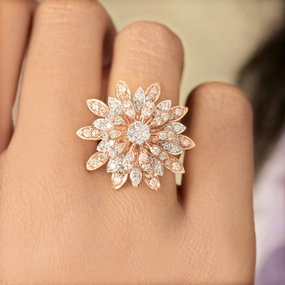 Natural Pave Diamond Emerald Leaves Design Statement Ring Solid 925 Sterling Silver Handmade Jewelry Friendship DayValentine/'s Day Gift