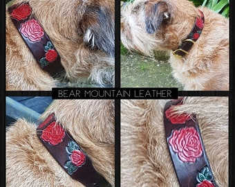 Custom Made Leather Dog Collar with Red Rise Design