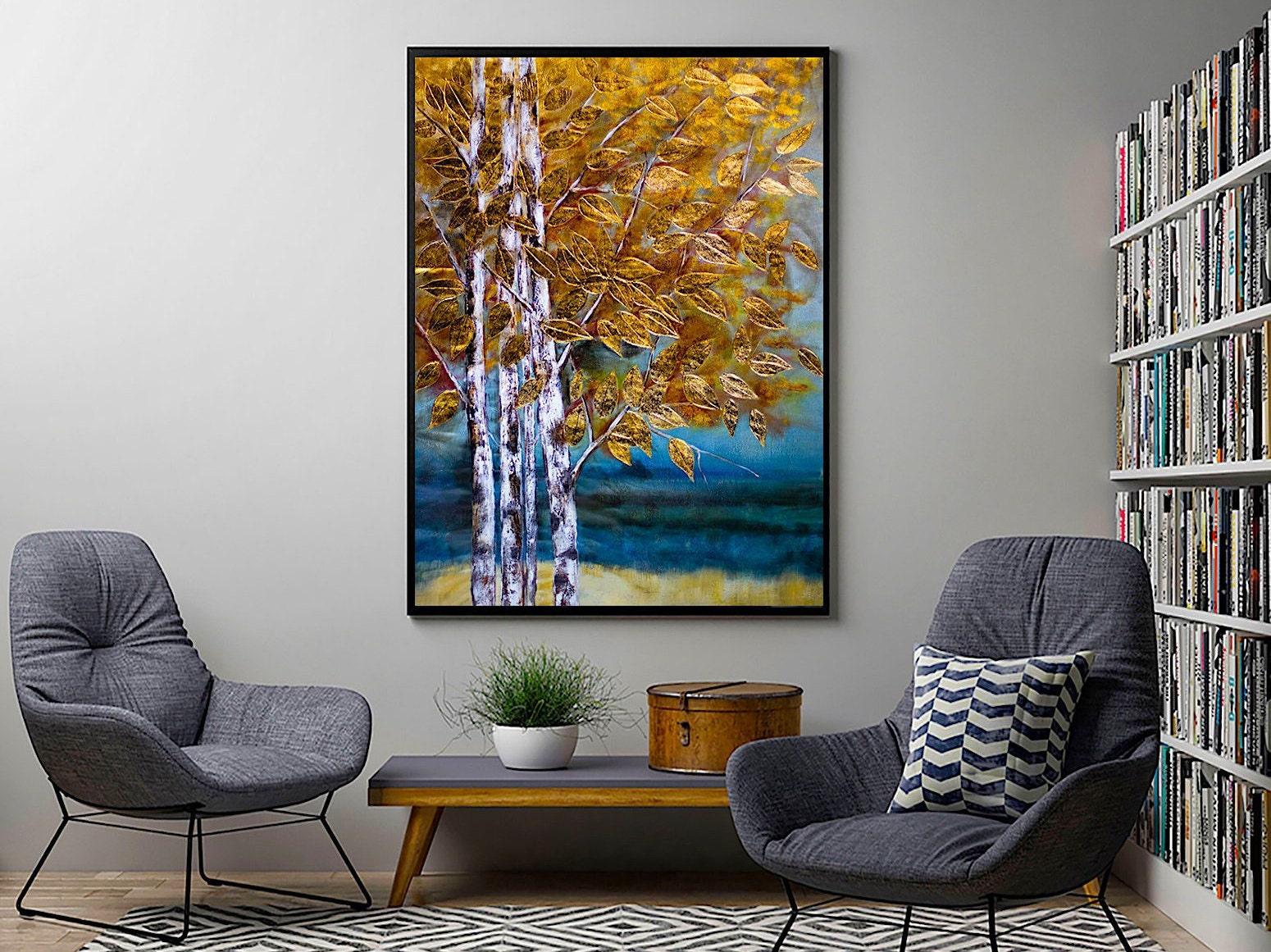 Original abstrakte gold lgem lde auf leinwand wand kunst for Wand kunst wohnzimmer