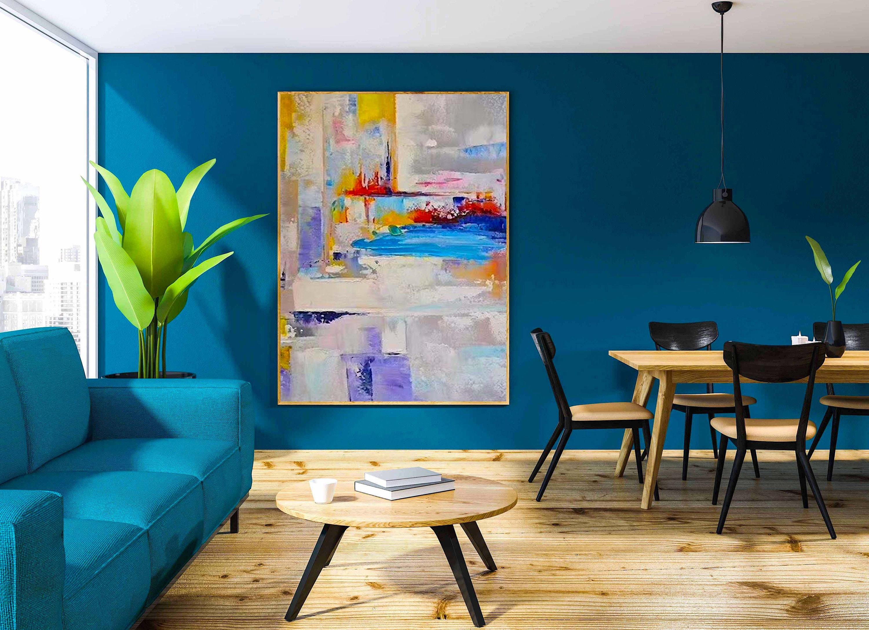 Große Abstrakte Acryl Malerei Auf Leinwand Für Wohnzimmer Wohnkultur Haus  Wand Dekor Original Gemälde Weiß Blau Gelb Malerei Moderne Kunst