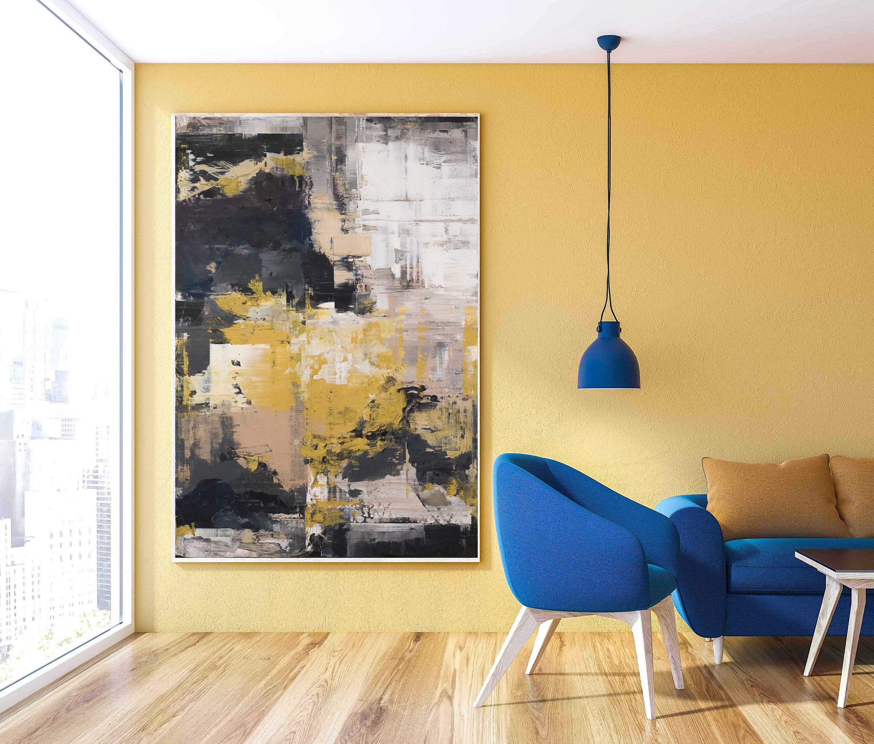 Large Abstract Oil Painting On Canvas For Living Room Home Deconate