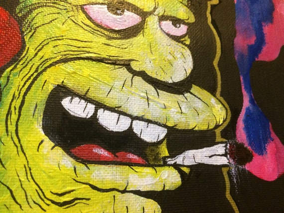 Otto man simpsons hand painted original canvas signed weed ganja spliff smoker