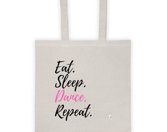 Dance cotton Tote bag, Eat sleep dance repeat pink print natural color printed canvas tote dancer gift