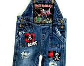 Baby upcycled Rock Metal distressed overalls-size 3-6 months