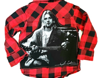 bba4aa46 KIDS upcycled grunge rock flannel-size 4T