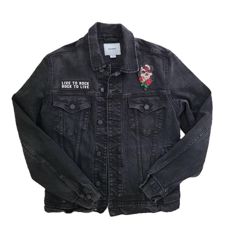 or unisex Men/'s size men/'s Small black denim ROCK jacket
