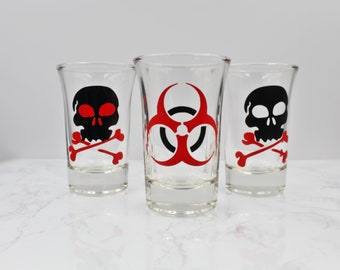 Shot Glass Trio | Biohazard, Skull and Crossbones
