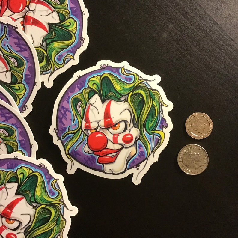 92mm x 100mm Car Sticker Vinyl Sticker Sticker Creepy Clown Die cut Decal Sticker Skull Sticker 4\u201dx4\u201d Laptop Sticker