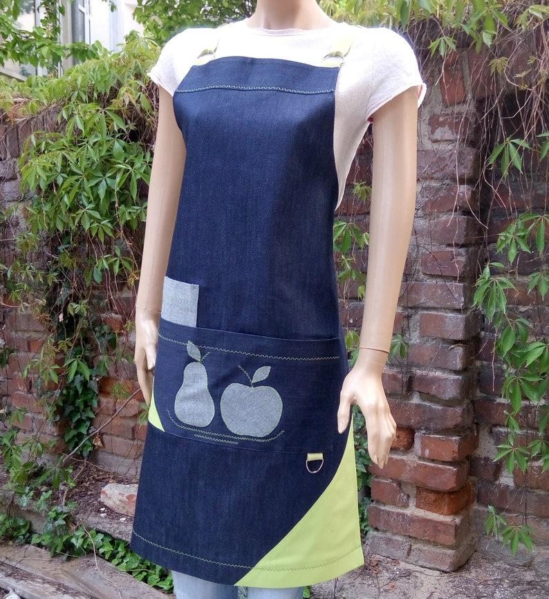 Denim Aprons for Women Barista apron Cross strap apron Aprons for grill and BBQ  Aprons for coffee shop Restaurant aprons  Apple applique