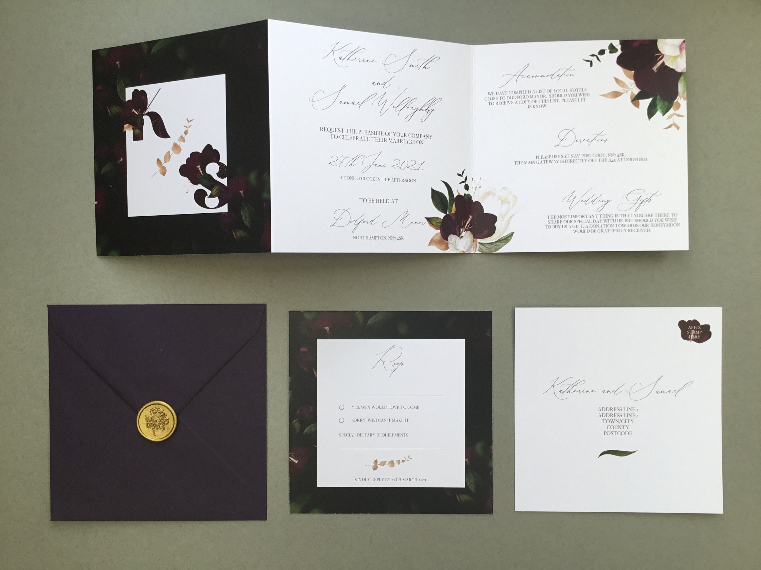 Velvet Kiss - Luxury Square Concertina Wedding Invitation, Wedding  Stationery & Save The Date  Purple/Plum Floral Design With Gold Elements